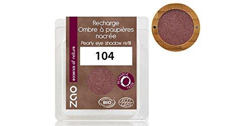 ZAO REFILL Pearly Eyeshadow 104 garnet granatrot bordeauxrot weinrot Lidschatten-Nachfüller schimmernd / Perlglanz (bio, Ecocert, Cosmebio, Naturkosmetik)