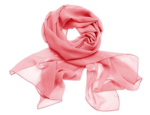 Dresstells Chiffon Schal Stola für Abendkleider in Verschiedenen Farben Coral 190cmX70cm/ Medium