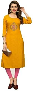 Yellow Embroidered Traditional Kurti