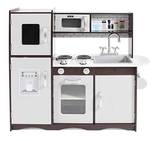 Bayer Chic 2000-Cucina Giocattolo Bambini, Struttura in Legno, Espresso, Argento, Colore Marrone, 304 11