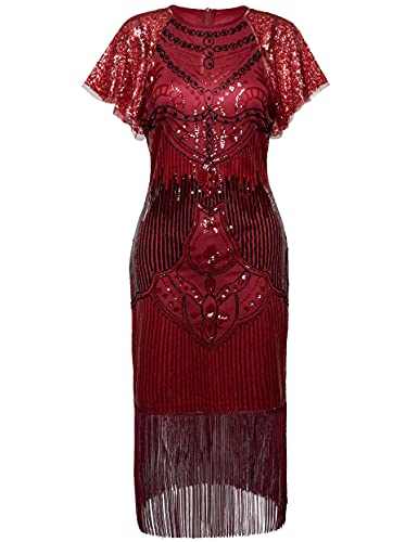 BABEYOND 1920s Art Deco Fringed Sequin Dress 20s Flapper Gatsby Costume Dress with Sequined Sleeves WineRed