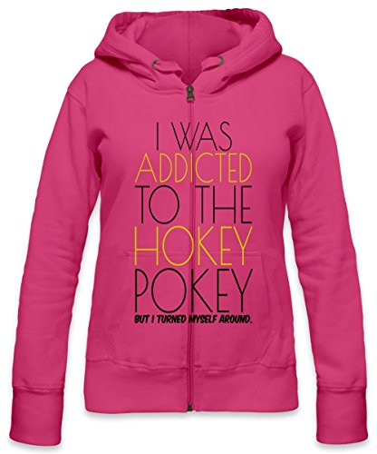 I Was Addicted To Hockey Pockey Slogan Womens Zipper Hoodie Small