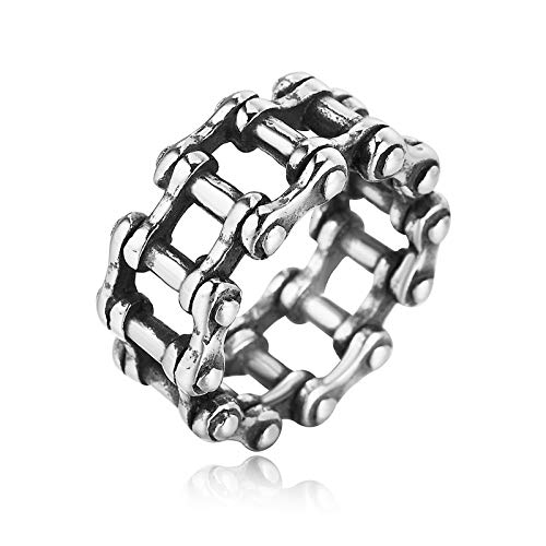 Cinnanal Men's Vintage Ring Index Finger Ring Fashion Jewelry Gift for Couples Silver Chain Ring Hypoallergenic Stainless Steel P 1/2
