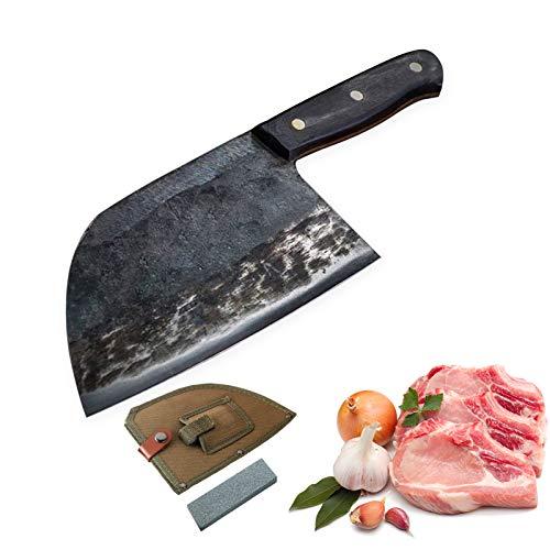 7 Zoll Full Tang Kochmesser Handgefertigtes geschmiedetes, kohlenstoffreiches Stahlküchenmesser Cleaver Filetieren Schneiden Breites Metzgermesser mit Messerabdeckung und natürlichem Schleifstein