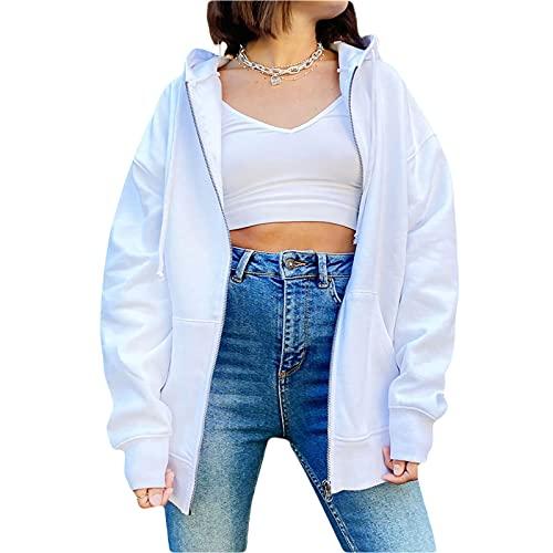 Sudadera de gran tamaño con capucha y cordón con cremallera para mujer con bolsillo frontal grande E-Girl Boyfrind Color sólido casual Chándal, blanco, L