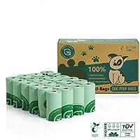 Green Maker 100% Biodegradables Caca Perro 360 Bolsas Excrementos Perros 30% más Grueso Que Otros Hechos de Almidón de Maíz con Certificación Europea EN13432 y Home Compost (Verde)