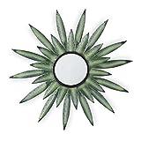 Relaxdays Espejo de Pared con Forma de Sol, Diseño A, Redondo, para Colgar, Metal, 1 Ud, para salón & Dormitorio, Verde, 1Ud