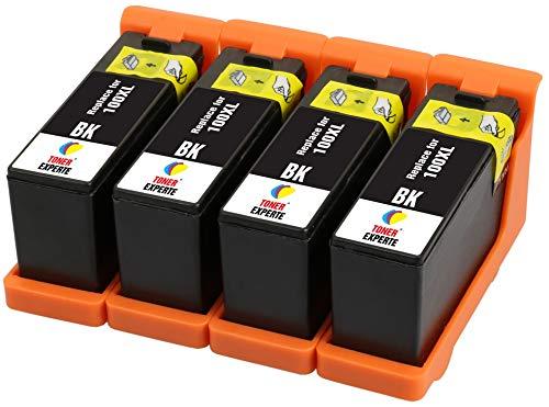TONER EXPERTE 4 XL Negro Cartuchos de Tinta compatibles con Lexmark 100 100XL 14N1068E S305 S308 S402 S405 S505 S602 S605 S815 Pro202 Pro205 Pro208 Pro209 Pro705 Pro805 Pro901 Pro905 | Alta Capacidad