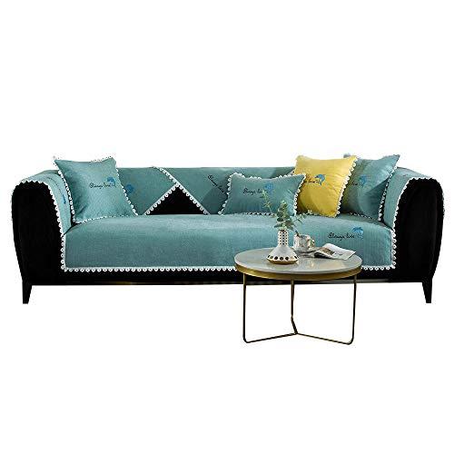 YUTJK Funda de sofá de Esquina,Fundas de Asiento de sofá de Tela para Sala de Estar,Funda Protectora de Muebles,para sofá de 1/2/3/4 plazas,Cojín de sofá Bordado de Chenille Dolphin,Verde_90×240 cm
