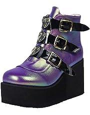 Womens Hoge Platform Enkellaarzen Wedges Chunky Hoge Hak Knight laarzen Ronde Teen Non-slip Combat Laarzen Voor Vrouwen