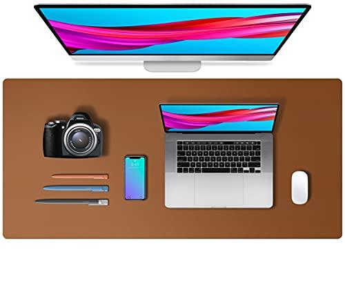 Tapis de bureau en cuir,tapis de souris, tapis de bureau,buvard de bureau en cuir PU antidérapant,tapis de bureau pour ordinateur portable pour le bureau et la maison (91x43cm,marron)