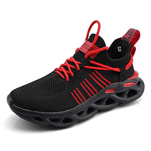 Gym Shoes Lightweight Shoes,Zapatos de Verano Transpirables para Hombres de Gran tamaño, Zapatos de Red Casuales Deportivos para hombres-663GJ Negro Red_47,Botas de montaña Deportivas
