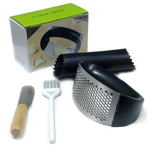 Garlic Press Stainless Steel Mincer,Crusher and Peeler Set professional pampered chef tool in kitchen,Easy Clean, Safe(Black)