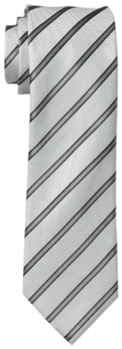 Kenneth Cole REACTION Men's Stripe II Tie, Silver, One Size