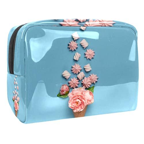 Voyage Portable de Sac de Maquillage,Cône de crème glacée avec Bonbons Bonbons ,Trousse à cosmétiques pour Femmes,Sac de Rangement pour Maquillage à glissière de beauté