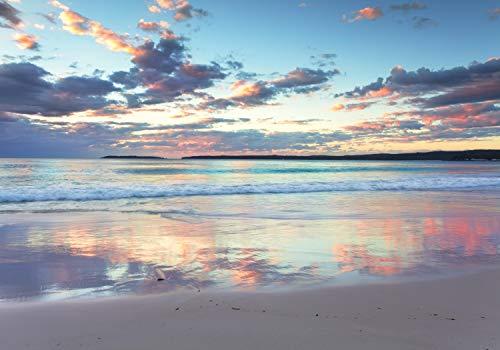 wandmotiv24 Fototapete Morgendämmerung Meer Australien XXL 400 x 280 cm - 8 Teile Fototapeten, Wandbild, Motivtapeten, Vlies-Tapeten Sonnenaufgang Wasser Strand Hyams M4874