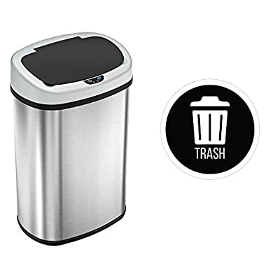 iTouchless 13 Gallon SensorCan Touchless Trash Can with Trash Decal, Stainless Steel, Oval Shape, 49 Liter Kitchen Bin