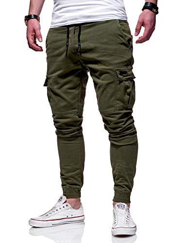behype. Herren Cargo Chino-Hose Jogger Jeans-Hose 80-8393 Khaki W33