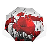 Travel Sports Umbrella Poppy Field Poppy Flower Morning Dew 1116928421 Windproof Folding Beach Umbrella Rain & Wind Resistant Compact and Lightweight for Business and Travels