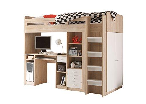 Ticaa Multifunktionshochbett Unit Eiche Sonoma-Weiß