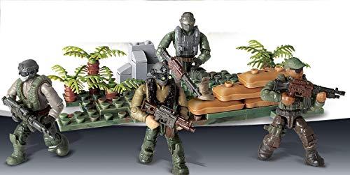 Brigamo 4 Stück Actionfiguren Soldaten Figuren inkl. Waffen, 8 cm Spielzeug Minifiguren mit Bausteine Grundplatte