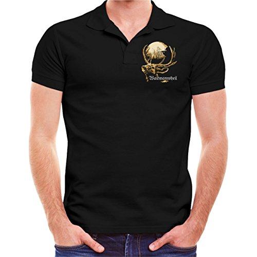 Männer und Herren Polo Shirt Jäger Problem - Lösung (mit Rückendruck) Größe S - 10XL