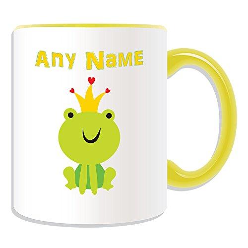 Personalisiertes Geschenk–Süße Tasse Froschkönig (Märchen Design Thema, Farbe Optionen)–alle Nachricht/Name auf Ihre einzigartige–Krone, keramik, gelb