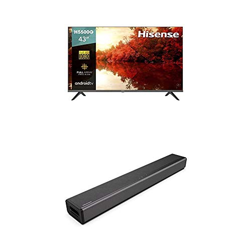 Hisense 43-Inch 43H5500G Full HD Smart Android TV with Voice Remote (2020 Model) and 2.1 Channel Sound Bar Home Theater System with Bluetooth (Model HS214)