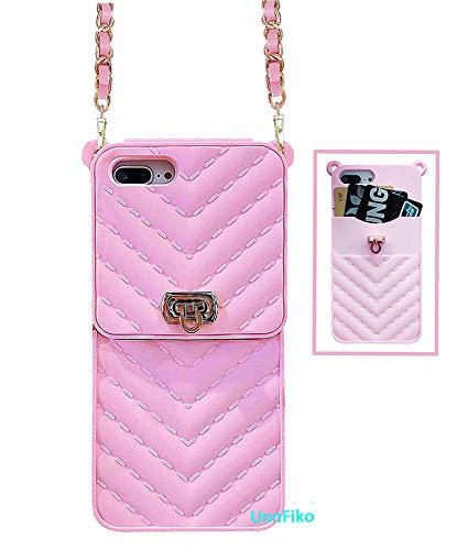 UnnFiko - Funda tipo cartera compatible con iPhone 7 Plus/8 Plus, diseño de bolso de lujo, con funda de silicona suave con correa de hombro larga (rosa, iPhone 7 Plus/8 Plus)