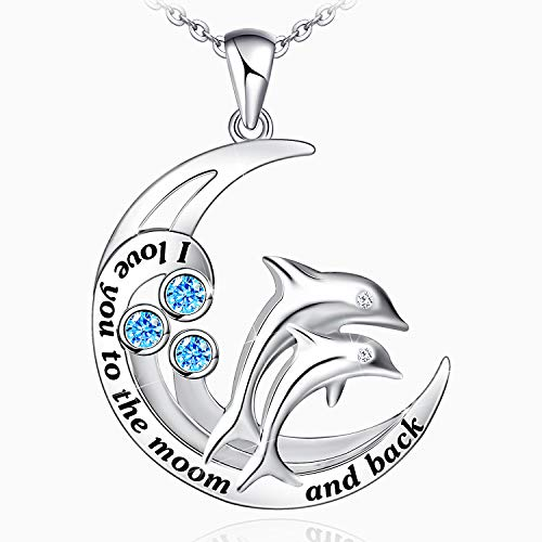 Dolphin Necklace for Women 925 Sterling Silver I Love You to The Moon and Back Necklace Dolphin Jewelry Gifts for Women Mom Wife Girls