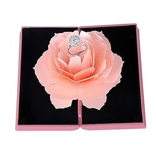 Ring Box 3D Pop Up Rose Ringschachtel für Hochzeit Verlobung Valentinstag Jubiläum Ringbox Verlobungsring Box Ringschatulle Ringetui Ringkästchen (Rosa)