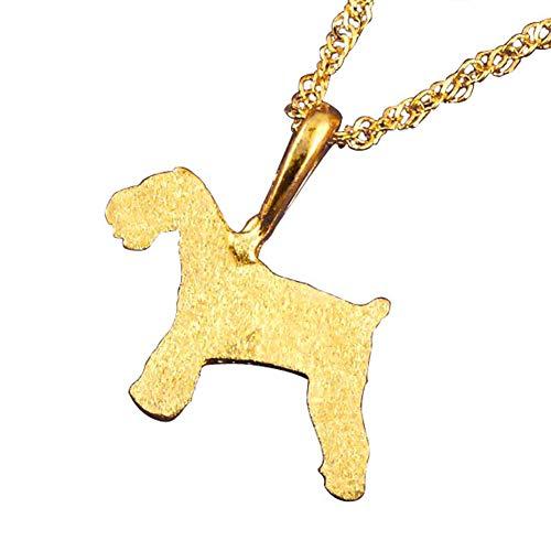 [アトラス] Atrus ネックレス レディース 純金 24金 犬 24K シュナウザー テリア系 いぬ 犬モチーフ ペンダント トップ チェーン(sv925イエローメッキ)