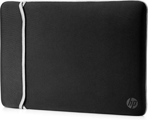 HP Neoprene Reversible Sleeve - Funda para portátil de hasta 35,6 cm, color negro y plata