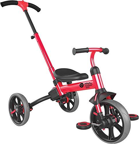三輪車 自転車 手押し棒付き キックバイク バランスバイク ペダル付き 3段階変形 トライク 3in1 子供用 変身バイク 1歳 2歳 3歳 4歳 5歳 折りたたみ 組み立て簡単 自転車 子供用 レッド red