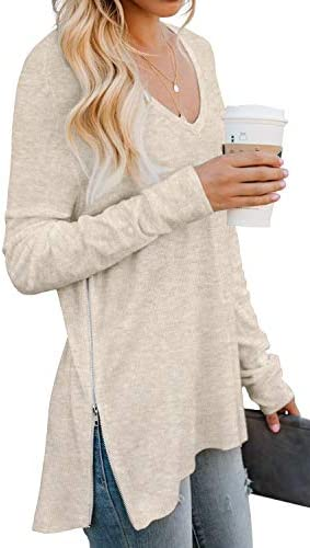 PrinStory Women s Fall V Neck Long Sleeve Tunic Casual Loose Tops with Side Zipper VG Beige product image