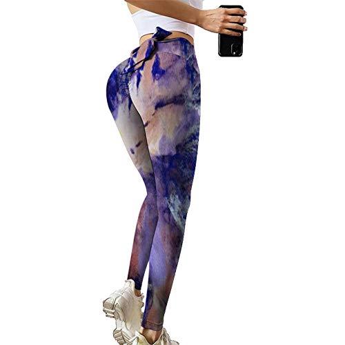GenericBrands Leggins Deporte Impresión Tie-Dye Cinturilla con Lazo Yoga, Mallas de Deporte de Mujer,Leggings Mujer Fitness Suaves Elásticos Cintura Alta para Reducir Vientre