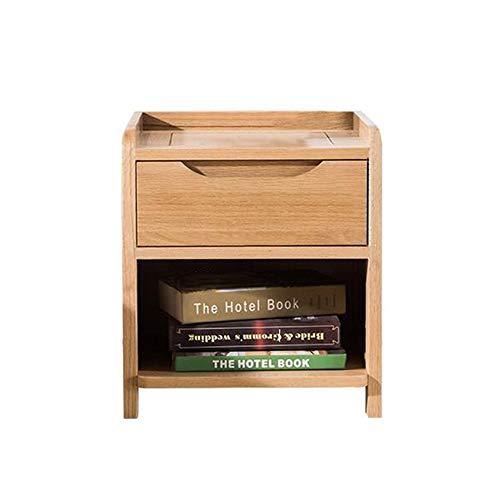 YUMEIGE-TAVOLI Tavoli/Comodino/Comodini in Quercia, Design di Recinzione con Cassetto, Noce/Legno, Mobili da Camera da Letto Tavolino (Color : Wood Color, Size : 15.74 * 14.96 * 17.71in)