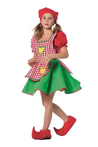 The Fantasy Tailors Disfraz de Enanito para niña, Vestido y Gorro de puntilla, fantasía, Cuento de Hadas, Carnaval, Teatro, Vestido Noche de Carnaval, Rojo / Verde, tamaños