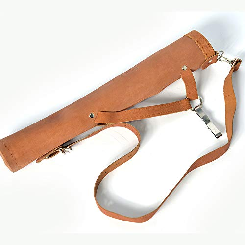 UNIVERSE ARCHERY Back Arrow Quiver | Genuine Suede Leather Arrow Holder | Traditional Handmade Quiver for Hunting & Archery Sports | Lightweight & Comfortable (43 X 8 cm) (Brown)