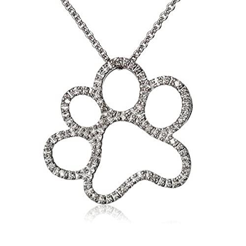 QIN Moda Cristal Animal Gato Perro Huella Colgante Collares joyería para Mujer Cristal Colgante Collar bisutería joyería