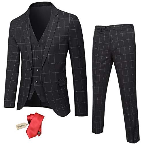 YND Men's Slim Fit One Button 3 Piece Suit Set, Blazer Jacket Vest Pants and Tie, Solid Wedding Dress Tux and Trousers Black - White Plaid
