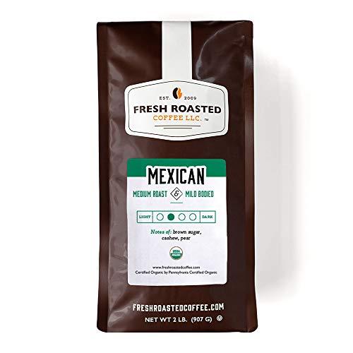 Fresh Roasted Coffee LLC, Organic Mexican Coffee, Medium Roast, Whole Bean, 2 Pound Bag