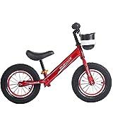 Bicicleta Sin Pedales Entrenamiento Equilibrio para Niños Cuerpo Acero Al Alto Carbono Neumáticos Espuma Antideslizantes Bicicleta Equilibrio Ajustable Altura Asiento,Rojo,12 Inch