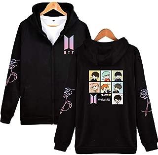 BTS LOVE YOURSELF WORLD TOUR Kpop Clothes Zip Up Hoodies Sweatshirts Women Men Casual Jacket Zipper Coat Long Sleeve Cartoon Printed Hooded Outwear Streewear