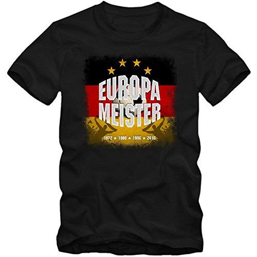 Deutschland-Europameister Em 2016#1 T-Shirt | Fußball | Herren | Fanshirt | Trikot | Nationalmannschaft | S-5XL, Farbe:Schwarz (Deep Black L190);Größe:XL