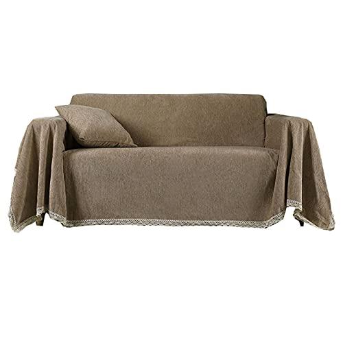 ZHFEL Funda para Sofá Color Sólido,Universal Cubre Sofa para 1 2 3 4 Plazas Protector para Muebles Antideslizante Lavable Chenille Funda de Sofá para Sala Dormitorio-180x360cm(70'x140')-C