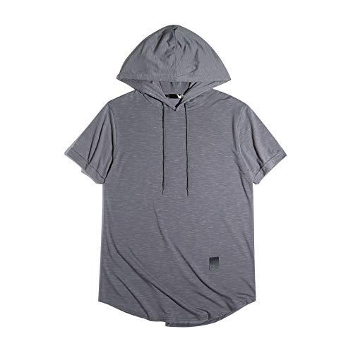 CFWL Camiseta De Manga Corta con Capucha De Color Puro para Hombre Camiseta De Verano para Hombre Camisa De AlgodóN, Camisa De Franela Muchos Colores Camisa Regular De Lino Gris L