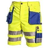 Procera Kurze Warnschutzhose mit Reflektionsstreifen gelb Arbeitshose Warnschutz Sicherheitshose Größe 48-58