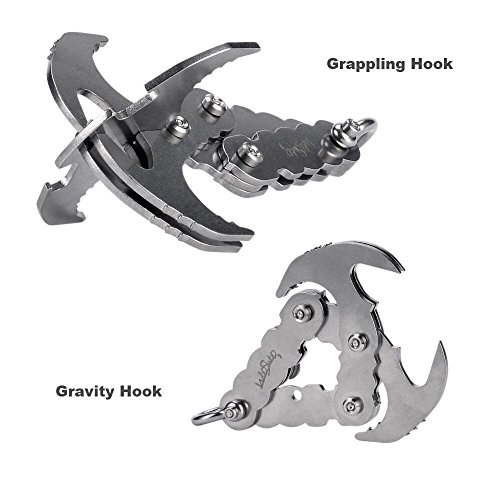 Grappling Hook, WodsWod Stainless Steel Outdoor Folding Gravity Hook, Load Up to 170lbs for Climbing, Hiking, or Tree Limb Removal