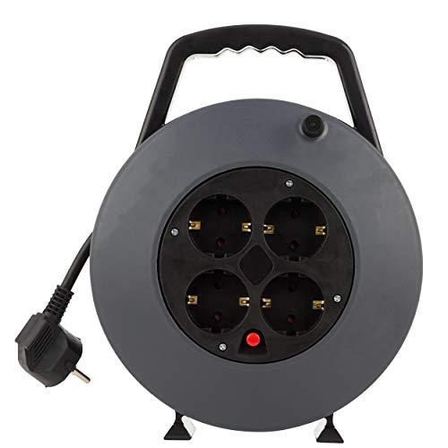 REV 008818114 Kabeltrommel, Kabelbox 4-fach, 10m, Überhitzungsschutz, schwarz